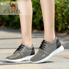 Camel/骆驼运动休闲幻彩布橡胶片系带圆头休闲女鞋