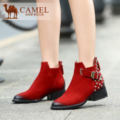 Camel/骆驼女鞋秋冬款短靴圆头中跟后拉链时尚柳钉祼靴