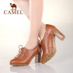 Camel/骆驼女鞋 春款复古 圆头牛皮细带深口单鞋