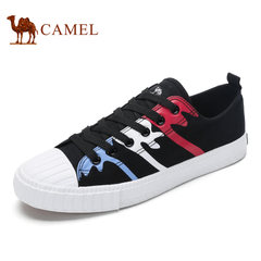 Camel骆驼男鞋 2017春季系带鞋舒适帆布鞋轻便学院风休闲鞋