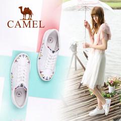 Camel/骆驼女鞋 2017春新款 涂鸦刺绣休闲小白鞋原宿风个性单鞋女