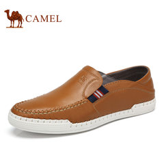 Camel/骆驼男鞋日常休闲鞋男牛皮鞋子软底套脚低帮乐福鞋男鞋