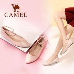 骆驼女鞋 2017春季新款 韩版时尚气质脚环铆钉搭扣内增高浅口单鞋