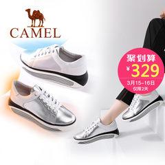 骆驼女鞋 2017春季新款 简约舒适休闲撞色女松糕厚底单鞋