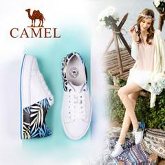 Camel/骆驼女鞋 2017春季新款休闲拼色 百搭单鞋 时尚小白鞋女