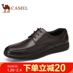 Camel/骆驼男鞋2017春季新品舒适商务休闲牛皮系带低帮鞋男士皮鞋