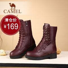 Camel/骆驼骆驼中筒靴 女鞋休闲 加绒侧拉链铆钉真皮圆头马丁靴