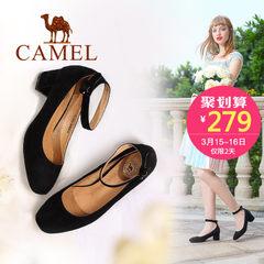 骆驼女鞋 2017春季新款 欧美复古圆头脚环扣带方跟羊皮单鞋