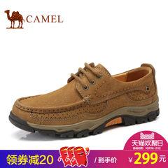 Camel/骆驼男鞋2017秋季户外休闲鞋男士真皮磨砂防滑耐磨系带皮鞋