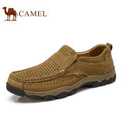 Camel/骆驼男鞋2017夏季新品户外休闲鞋镂空透气耐磨牛皮套脚皮鞋
