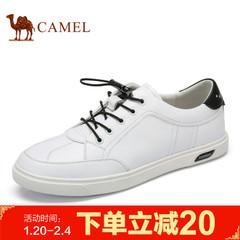Camel/骆驼男鞋2017春季新品年轻时尚休闲滑板鞋真皮休闲板鞋男