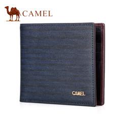 Camel/骆驼2017春季新款男士钱包 时尚条纹撞色牛皮横款青年钱夹