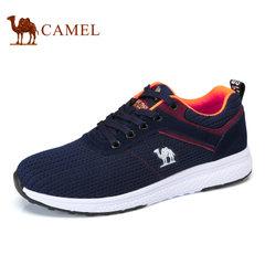 Camel/骆驼男鞋2017夏季新品时尚编织鞋面运动休闲低帮跑步鞋男