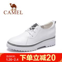 Camel/骆驼女鞋 2017新款春鞋 简约中跟系带百搭小白鞋舒适单鞋