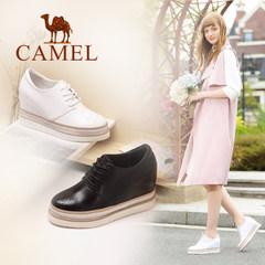 Camel/骆驼女鞋 2017秋季时尚内增高单鞋真皮系带雕花圆头皮鞋女