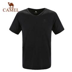 【2017新品】CAMEL骆驼户外休闲T恤 男士轻薄透气V领休闲T恤