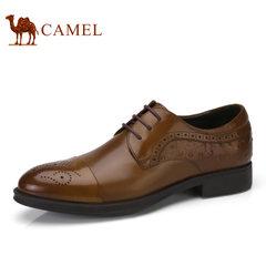 Camel骆驼男鞋 2017春季商务正装系带男鞋布洛克雕花男士皮鞋