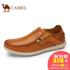 CAMEL骆驼男鞋 2017新款套脚头层牛皮休闲皮鞋舒适耐磨男低帮鞋