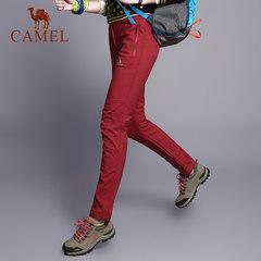 CAMEL駱駝戶外衝鋒褲女 冬季保暖抓絨加厚軟殼褲男登山褲運動褲子