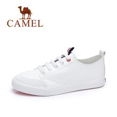 Camel/骆驼女鞋 2017春季 韩版复古平底休闲鞋系带学院小白鞋