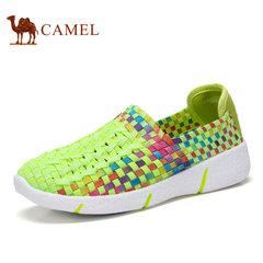Camel/骆驼男女鞋新品情侣款编织鞋透气时尚休闲健步鞋