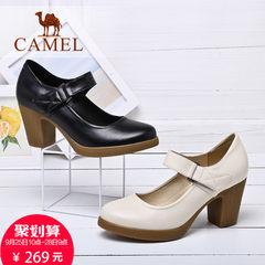 Camel/骆驼女鞋2017秋新款皮鞋女休闲百搭舒适高跟鞋粗跟单鞋女