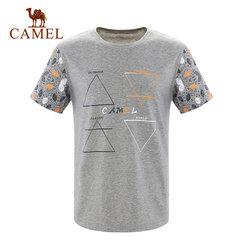 【2017新品】骆驼户外休闲衣 男款春夏透气直筒圆领时尚短袖T恤