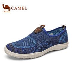 Camel/骆驼男鞋2017年新品 透气速干飞织网布鞋舒适休闲健步鞋