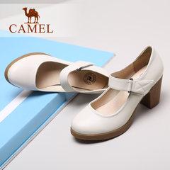 骆驼女鞋真皮鞋春新款女鞋休闲百搭职业鞋舒适粗跟优雅高跟女单鞋
