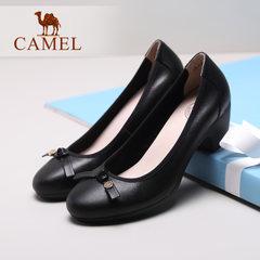 Camel/駱駝女鞋真皮鞋2017春季新款優雅女士單鞋圓頭淺口高跟女鞋
