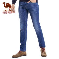 Camel/骆驼男装 2017夏季新款时尚猫须拉链直筒商务休闲牛仔长裤