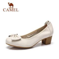 Camel/骆驼女鞋 2017秋季新款休闲真皮女单鞋 蝴蝶结浅口女鞋