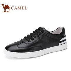 Camel/骆驼男鞋2017春季新品百搭时尚滑板鞋舒适轻盈真皮品质板鞋