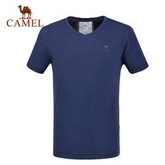 【2017新品】骆驼户外男款休闲V领T恤 吸湿排汗透气T时尚短袖T恤