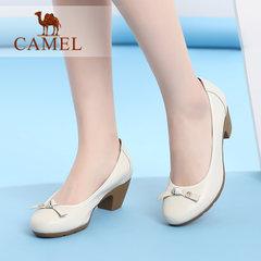 Camel/骆驼女鞋 2017秋季新款优雅女士单鞋圆头浅口高跟女鞋