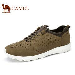 Camel/骆驼男鞋2017夏季新品日常休闲真皮磨砂牛皮男士休闲鞋
