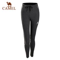 【2017新品】骆驼运动女款针织长裤 透气弹力时尚印花健身长裤