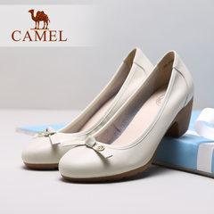 Camel/駱駝女鞋 2017春季新款優雅女士單鞋圓頭淺口高跟女鞋
