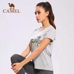 【2017新品】骆驼户外运动T恤 女款简约圆领运动休闲百搭短袖T恤