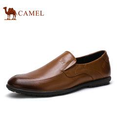 Camel/骆驼男鞋2017夏季新品英伦商务正装皮鞋真皮懒人套脚鞋