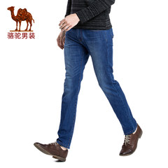 Camel 骆驼男装 2017夏季新品男士商务休闲拉链中腰合身牛仔裤男