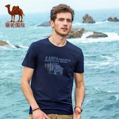 骆驼 2017夏季新款时尚休闲商务棉质印花圆领短袖T恤男上衣
