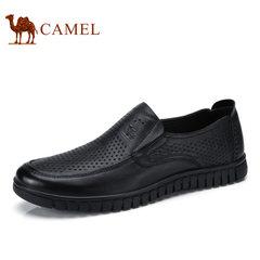 Camel/骆驼男鞋2017夏季新品镂空透气鞋商务休闲鞋真皮牛皮鞋男