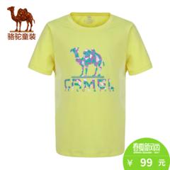 【实体同款】小骆驼童装2017夏季薄款女童圆领T恤衫儿童简约上衣