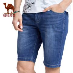 骆驼牛仔裤 2017新款猫须直筒牛仔裤宽松微弹五分短裤男士中裤薄