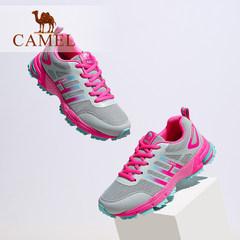 Camel/骆驼女鞋新款韩版百搭网面系带撞色低跟运动户外鞋