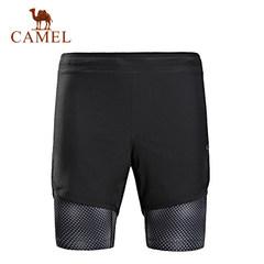【2017新品】骆驼运动男款短裤 夏季假两件短裤透气弹力时尚舒适