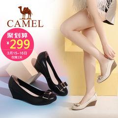 Camel/駱駝女鞋 2017春夏新款 時尚休閑真皮單鞋 舒適坡跟鞋女