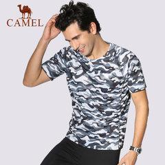 骆驼运动男款圆领短袖T恤 时尚迷彩运动透气排汗T男