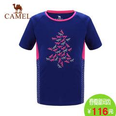 【2017新品】骆驼春夏儿童功能性圆领短袖T恤男童女童舒适印花t恤